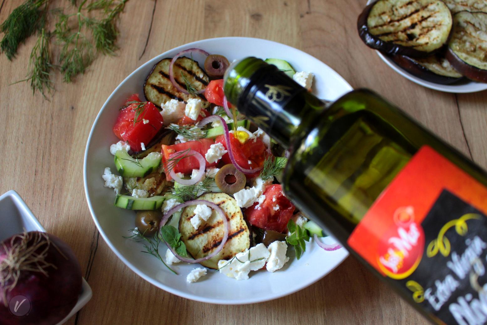 Brza, jednostavna salata sa grilovanim patlidzanom